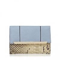 J By Jasper Conran Light Blue Metal Panelled Flap Over Wallet