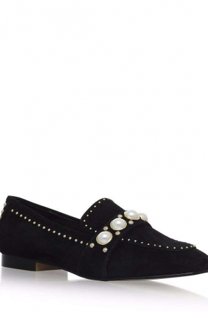 Carvela Black 'Leighton' Flat Slip On Loafers