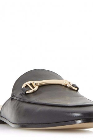 Dune Black 'Gene' Metal Saddle Trim Backless Loafer Shoes