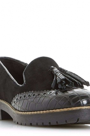Dune Black 'Giorgia' Cleated Sole Tassel Loafers