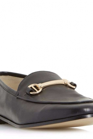 Dune Black 'Guilt' Metal Saddle Trim Loafer Shoes