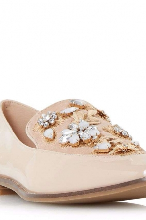 Dune Natural 'Gift' Embellished Pointed Toe Loafers