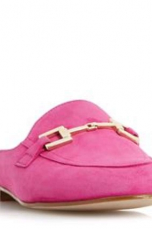 Dune Pink 'Gole' Metal Saddle Trim Backless Loafers Shoes