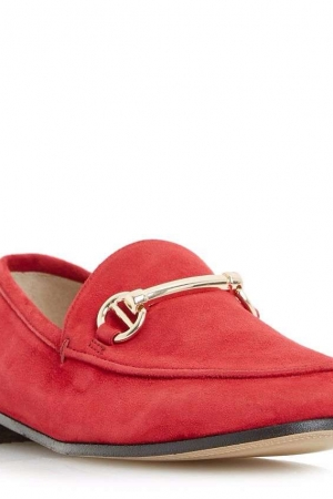 Dune Red 'Guilt' Metal Saddle Trim Loafer Shoes