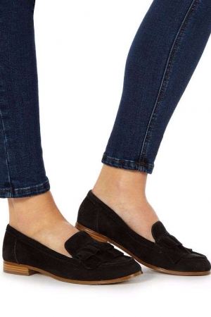 Faith Black Suede 'Ava' Loafers