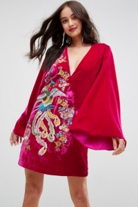 ASOS Embroidered Velvet Kimono Mini Dress