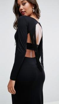 ASOS Extreme Fringe Back Maxi Dress