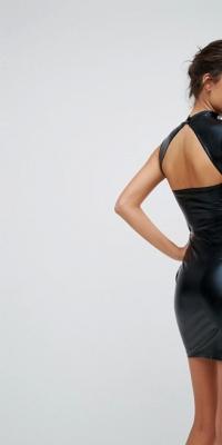 ASOS HALLOWEEN PU High Neck Mini Dress With Open Back