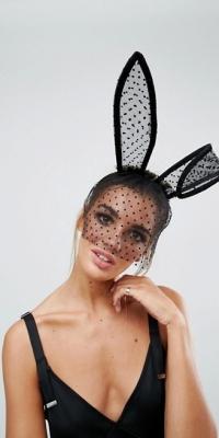 ASOS Halloween Oversize Ears With Spotty Veil Headband