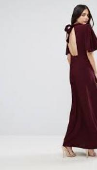 ASOS High Neck Flutter Sleeve Maxi Dress
