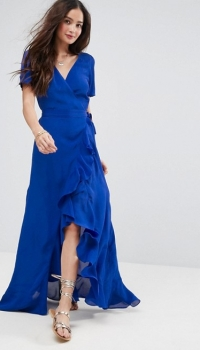 ASOS Maxi Dress With Ruffle Detail And Open Back