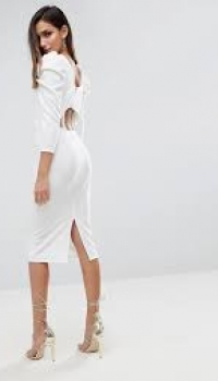 ASOS Midi Dress With Puff Sleeve And Cut Out Back