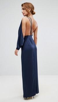 ASOS One Shoulder Drape Front Strap Back Maxi Dress