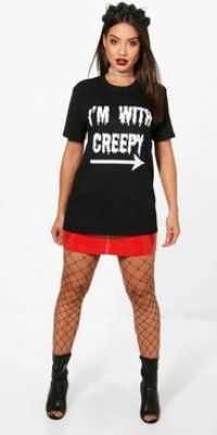 Boohoo Creepy Printed Halloween T Shirt