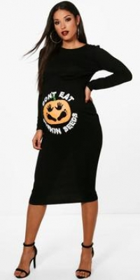 Boohoo Maternity Pumpkin Halloween Bodycon Dress