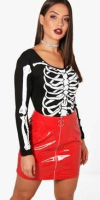 Boohoo Sarah Halloween Skeleton Print Body Suit