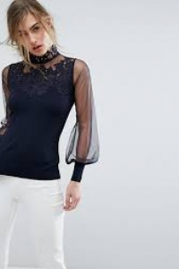 Coast Cici Denipal Lace Knit Top