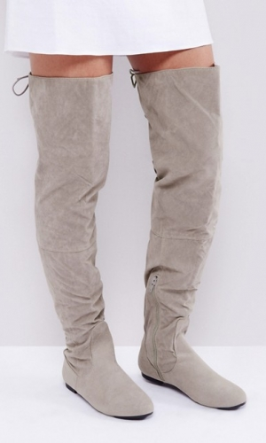 Daisy Street Lace Back Grey Over The Knee Boots