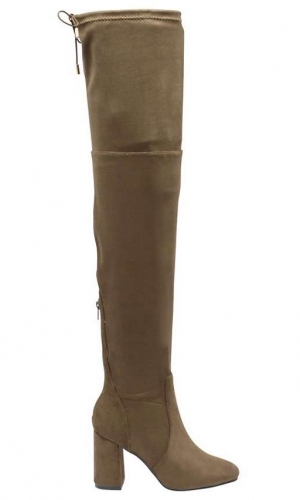Dolcis Khaki 'Elana' Over The Knee Block Heeled Boots