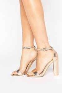 Glamorous Rose Gold Barely There Block Heeled Sandals