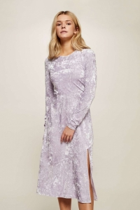 Miss Selfridge Lilac Velvet Midi Skater Dress