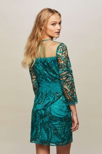 Miss Selfridge PREMIUM Dark Green Embellished Shift Dress