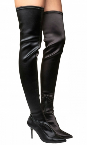 Office Kiss And Tell Stretch Over The Knee Boots Black Satin