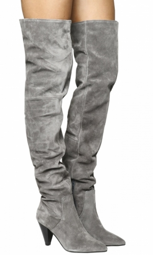 Office Kon Slouch Over The Knee Boots Grey Suede