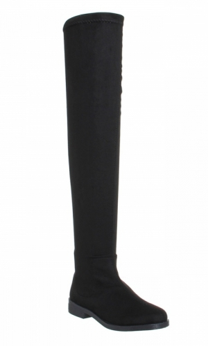 Office Kung Fu Over The Knee Boots Black