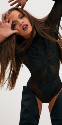 Pretty Little Thing Black Skeleton Beaded Print Thong Bodysuit