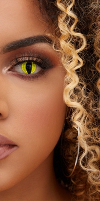 Pretty Little Thing Halloween Yellow Feline Daily Contact Lenses