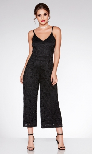 Quiz Black Glitter Lace Culotte Jumpsuit
