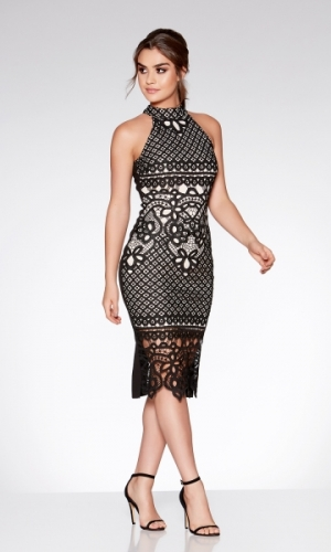 Quiz Black And Nude Crochet High Neck Dress