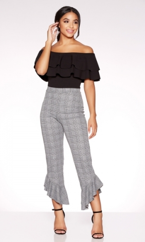 Quiz Grey Check Frill Hem Trousers