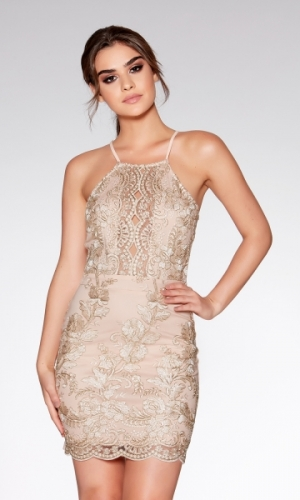 Quiz Nude And Gold Embroidered Bodycon Dress