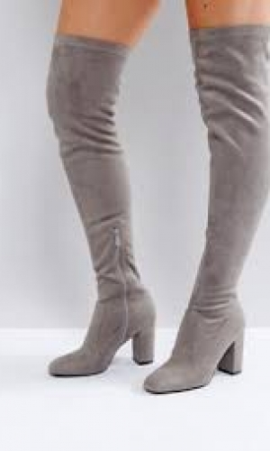RAID Nada Grey Block Heel Over The Knee Boots