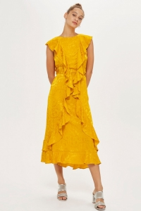 Topshop Jacquard Ruffle Midi Dress