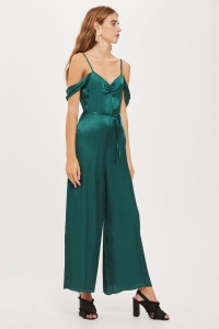 Topshop Satin Cold Shoulder Jumpsuit