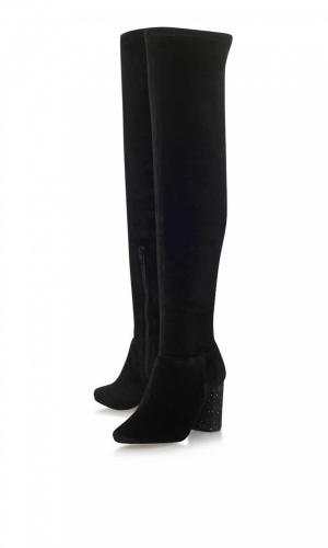 Venus Black High Heel Knee Boots By Miss KG