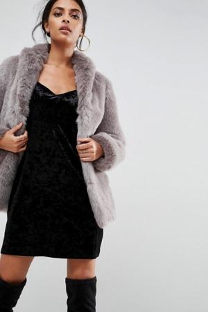ASOS Coat In Vintage Faux Fur Grey