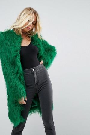 ASOS Midi Coat In Bright Mongolian Faux Fur