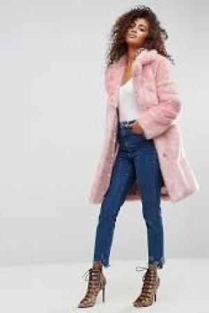 ASOS Midi Coat In Plush Faux Fur