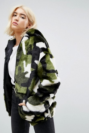 ASOS Oversized Hooded Jacket In Camo Faux Fur