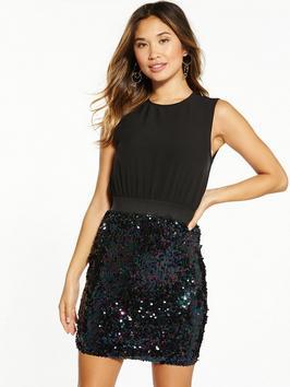 Ax Paris Sleeveless 2 In 1 Sequin Mini Dress