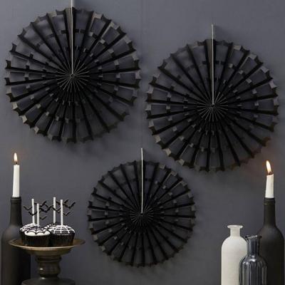 Black Halloween Spider Cobweb Fan Decorations