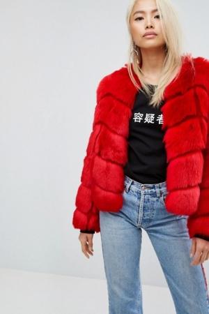 Jakke Cropped Faux Fur Panelled Coat