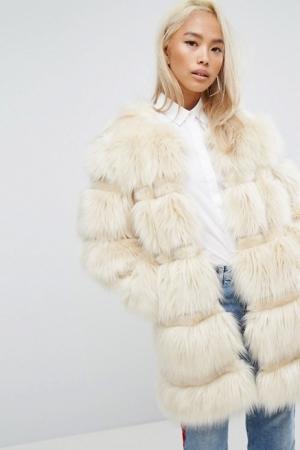 Jakke Longline Faux Fur Panelled Coat