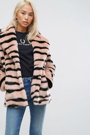 Jakke Mid Length Faux Fur Coat In Animal Stripe