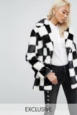 Jakke Mid Length Faux Fur Coat In Checkerboard