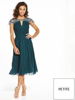 Little Mistress Petite Cap Sleeve Embellished Midi Green